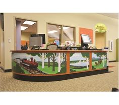paint a theme and nail gun it to the circulation desk brilliant childrens librarylibrary designlibrary - Library Circulation Desk Design