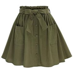 CoutureBridal Womens A Line Pleated Stretch Lace Up Floral Linen Short... ($20) ❤ liked on Polyvore featuring skirts, floral printed skirt, green a line skirt, green skirt, floral print skirt and linen skirt
