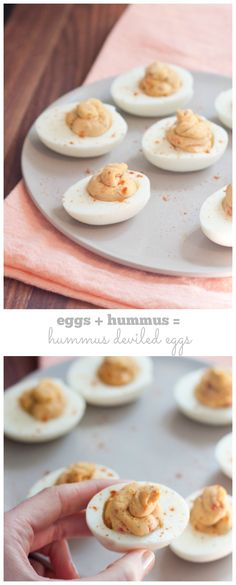Healthy 2 Ingredient Hummus Deviled Eggs // each one has only 50 calories and 3 grams of protein!