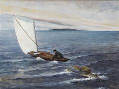 Hugo Simberg : Purjehtija Ja Merihirviö / The Yachtsman And The Sea Monster , 1901 Sea Monsters, Les Oeuvres, Finland, Bird, Painting, Animals, Board, Artist, Paint