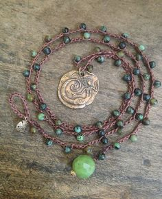 "Mermaid of the Sea, Soul Surfer Jade Crochet Necklace ""Beach Chic"" $30.00"