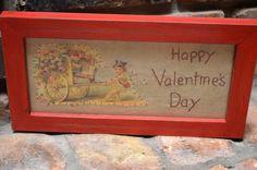 Vintage Framed HandStitched Victorian Valentine