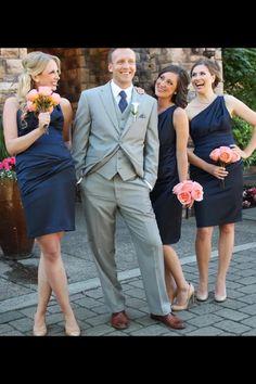 Coral and navy bridesmaids
