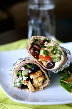 Greek Salad Tempeh Wraps