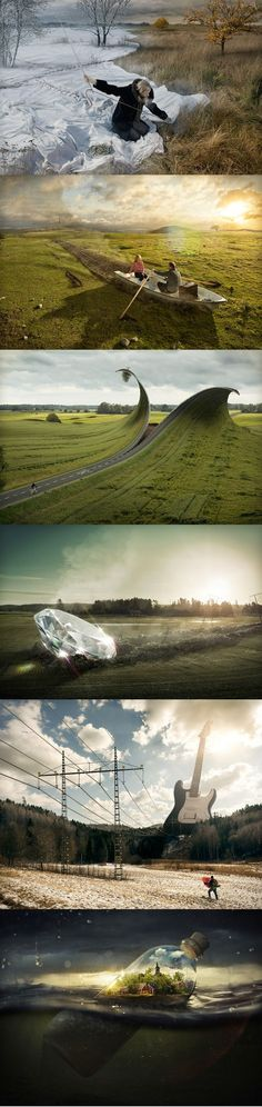 """""""I don't capture moments, I capture ideas. To me photography is just a way to collect material to realize the ideas in my mind."""" –Photographer Erik Johansson"""