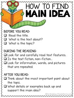 Easiest way to teach how to find main idea. Main Idea and Topic - FREE Resources — Teacher KARMA mainidea readingcomprehension comprehension teacherkarma classroomideas anchorcharts 431219733071842182 Improve Reading Comprehension, Reading Comprehension Worksheets, Reading Resources, Reading Strategies, Teacher Resources, Reading Skills, Reading Response, Reading Groups, Eal Resources