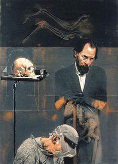 Arturo Rivera ( 1945 - ) self portrait Título: El Cirujano y El Pintor Técnica: óleo/tela y madera Medidas: 81 x 65 cm. Año: 1992