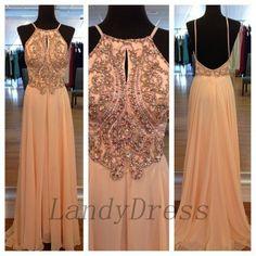 Long Prom Dresses, Chiffon Floor Length Prom Dress, Beaded Prom Dress Long, Sexy Backless Prom Dress/Evening Dress In Light Peach