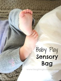 Baby play sensory learning bag you can make at home. DIY toy.