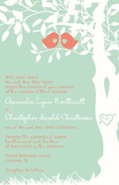 Coral and Mint Custom Love Birds Wedding by InvitingMoments