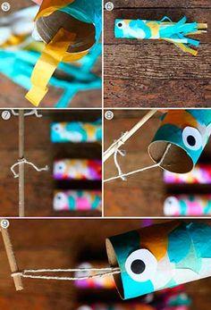 Como hacer peces con tubos de cartón y papel crepe