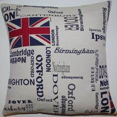 Union Jack English City London Cushion Cover via Etsy.