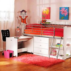 Charleston Storage Loft Bed with Desk, White - cool bed, desk, storage combo. And the desk slides back in and under the bed Cool Loft Beds, Loft Bunk Beds, Bunk Bed With Desk, Kids Bunk Beds, Desk Bed, Low Loft Beds For Kids, Tween Beds, Loft Beds For Small Rooms, Awesome Bedrooms