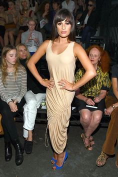 Lea donned what looks to be a ruched bed sheet at the Alexander Wang Spring 2012 Fashion Show.
