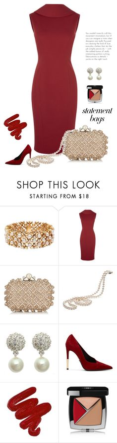 """Staement"" by patricia-dimmick ❤ liked on Polyvore featuring Blue Nile, Jimmy Choo, Carolee, Balmain, Obsessive Compulsive Cosmetics, Chanel, reddress, statementbag and goldandpearls"