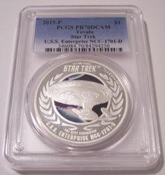 Tuvalu 2015 P 1 Ounce Silver Dollar Star Trek Enterprise PR70 DCAM PCGS #coins #PCGS #StarTrek #silver
