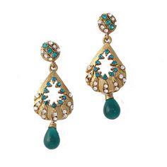 Blue Gold Plated Austrian Diamond Earrings