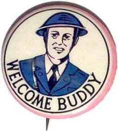 """Vintage WWII """"Welcome Buddy"""" Celluloid Pinback Button"""