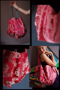 """cabas """"mademoiselle Bernadette"""" damassé rose et rouge : Sacs à main par sac-il-me-ressemble"""
