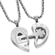 "Stainless Steel Couple Heart Shape ""I Love You"" Lock and Key Pendant Necklace Set His and Hers w/ Crystal Rhinestone Stone  - $26.00"