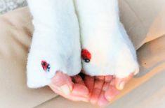 Ladybug Wool Fingerless Gloves Norwegian ECO Wool Felted Warm Arm Warmers Hand Warmers Mittens OOAK Eco Fingerless gloves with Thumb Warmer