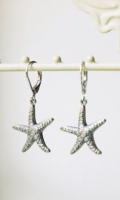 Starfish Earrings Antique Silver Starfish Nautical
