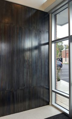 Blue Heat is a blend of acid patinas applied to steel creating a finish with beautiful depth and layers of color. Steel Patina, Patina Metal, Metal Wall Panel, Black Backsplash, Steel Panels, Thing 1, Steel Wall, Commercial Design, Home Collections