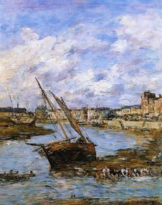 Trouville, the Inner Port, Low tide, 1881 - Eugene Boudin - oil - Impressionism