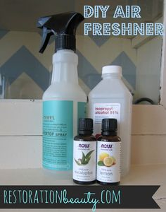 DIY Air Freshener: 1 cup water (not pictured), 2 tablespoons alcohol, 20-30 drops essential oil/s, 1 tablespoon of baking soda