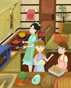 Our Room 2 - Cooking Time #illustration #ourroom #cooking #brushing #digitalpainting #cartoon