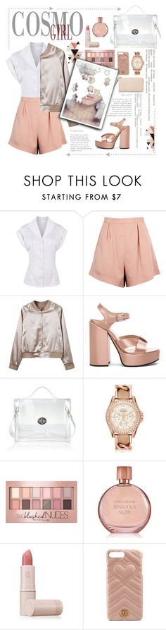 """Random"" by samella-walters ❤ liked on Polyvore featuring Finders Keepers, WithChic, Jil Sander, FOSSIL, Maybelline, Estée Lauder, Lipstick Queen and Gucci"