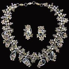 Schreiner Diamante Teardrop Citrines Aurora Borealis Choker Necklace Earring Set