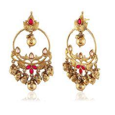 Perfect look Pink & Gold Artificial Jewellery Earrings 1 Gram Gold Jewellery, Real Gold Jewelry, Gold Jewellery Design, Modern Jewelry, Indian Wedding Jewelry, Indian Jewelry, Solitaire Earrings, Gold Earrings Designs, Jewelery