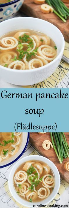 German pancake soup (Flädlesuppe) is a simple combination of broth with pancake 'noodles' that's tasty, comforting and a great cold-buster! #SundaySupper