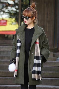 Khaki Green Classic Loose Woolen Winter Coats