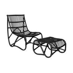Porter Rattan Chair and Ottoman