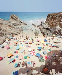 Beautiful color palettes from the umbrellas on this beach in Portugal. Man, I need to get to Portugal Slim Aarons, Oh The Places You'll Go, Places To Travel, Places To Visit, Happy Long Weekend, The Beach, Beach Pics, Summer Beach, Beach Trip