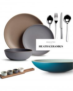 When brides stop by California-based Heath Ceramics in Sausalito, San Francisco, or Los Angeles, they may leave with a persimmon-and-slate-gray Shallow Salad Bowl or an aqua Multi-Stem Vase, both designed and produced by the company.