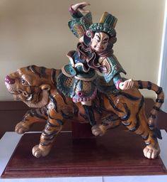 Antique Chinese 19th Century Roof Tile of a General on a Tiger, Excellent, Rare! #Handcrafted