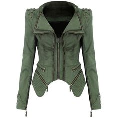 Womens Sharp Studded Shoulder Lapel Zipper Denim Jacket Green (470 DKK) ❤ liked on Polyvore featuring outerwear, jackets, green, lapel jacket, zipper jean jacket, zippered denim jacket, denim jacket y green zip jacket