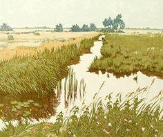 Landscape Etching Artwork - Morning Pastures, Jan Dingle