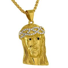 Gold Jesus Pendant Simulated Diamonds Stainless Steel Christ Face Free Necklace