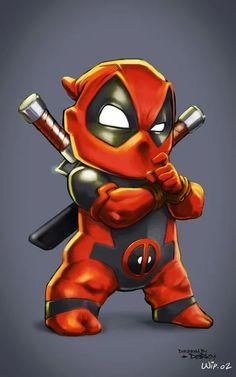 (Deadpool Kid) By: Darkey. Chibi Marvel, Hq Marvel, Marvel Dc Comics, Marvel Heroes, Deadpool Art, Lady Deadpool, Deadpool Chibi, Deadpool Tattoo, Deadpool Stuff