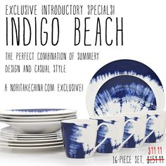 Indigo Beach is exclusive to NoritakeChina.com! Introductory specials this weekend, including this 16-piece set for $99.99! http://bit.ly/1Ly1mvl #dinnerware #noritake #indigo #beach #tablescapes #summer #mixandmatch