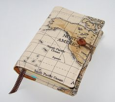 Travel Journal Book Cover of  World Map North by WhimsyWooDesigns
