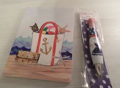 BEACH BAG JOURNAL DIARY NOTEBOOK + AHOY GIRLIE! SAILER PEN NAUTICAL COASTAL NIP