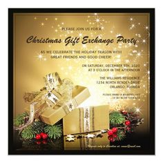 Christmas Gift Exchange Party Invitation #christmas #holiday #gift #exchange #party