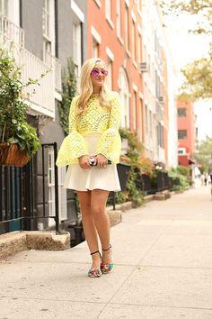 Yellow Lace, Alexis Top, BCBG Skirt, Fendi, Ray Ban Sunglasses, Sophia Webster…