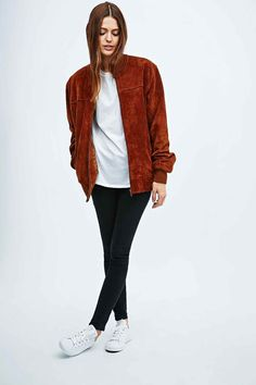 Urban Renewal Vintage Remnants Suede Bomber Jacket in Tan - Urban Outfitters