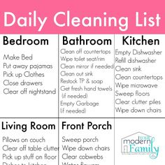 Free Printable Daily and Weekly Cleaning Lists | Best Free ...